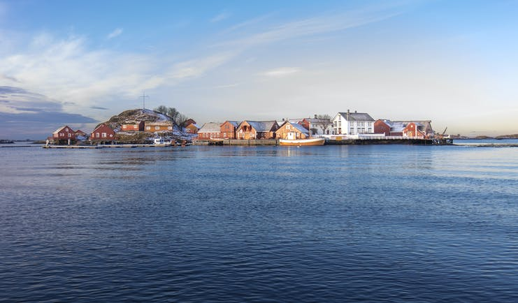 Island with wooden buildings