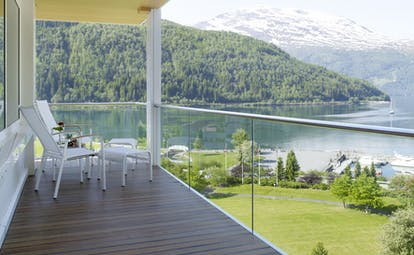 Hotel Alexandra Loen glass fronted balcony giving wide views of fjord