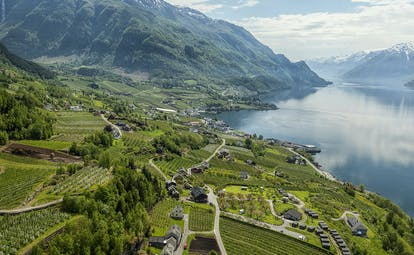 Hotel Ullensvang Norway panoramic view of terraces by fjord