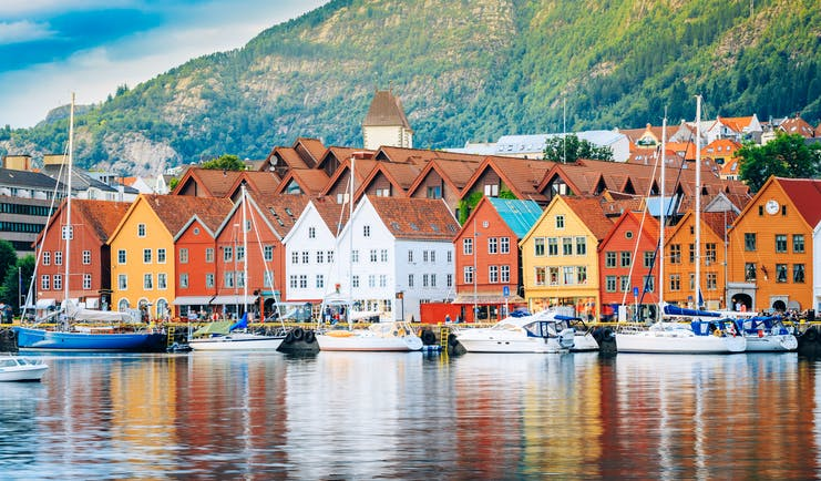 Waterfront Bergen with tall warehouses of different colours
