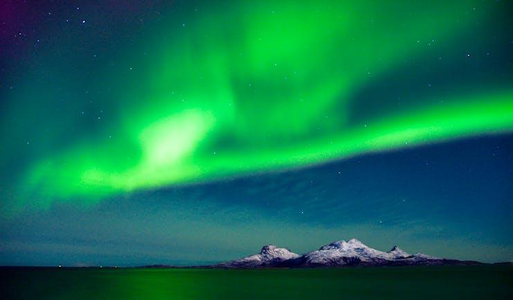 Green lights in night sky at Bodo