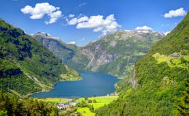 Geirangerfjord with pastures, mountains and tree-clad slopes
