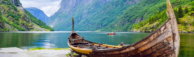 Viking boat on fjord at Gudvangen