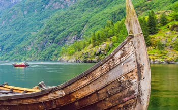 Viking boat on fjord at Gudvangen