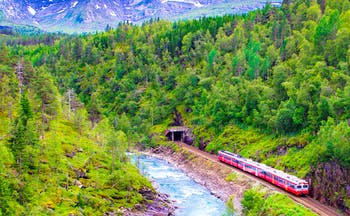 Red train in mountains from Oslo to Bergen
