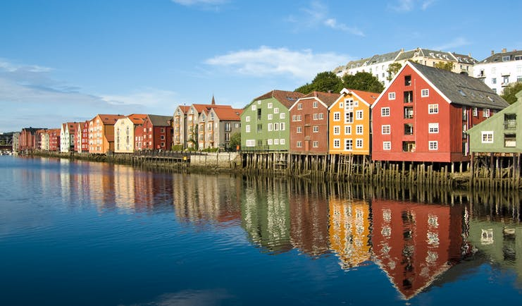 Colourful warehouses on waterfront in Trondheim