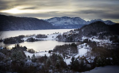 Storfjord Hotel view of snowy hills and lakes