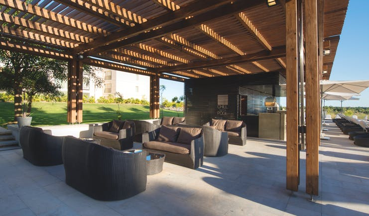 Anantara Vilamoura Portugal outdoor bar area with sofas