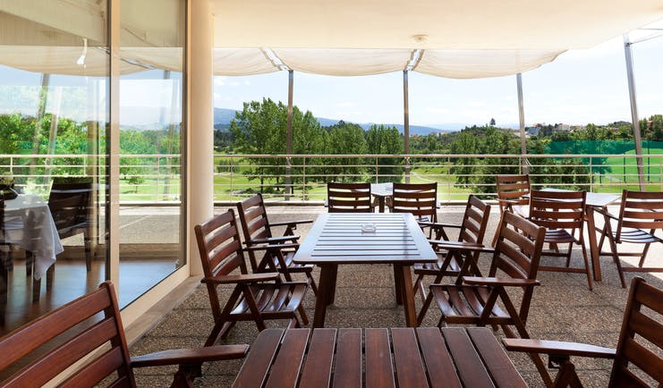 Casa da Calcada Portugal golf terrace covered outdoor seating terrace with view of golf course