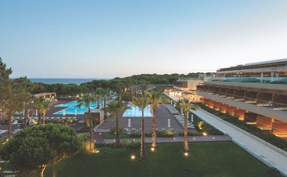 Epic Sana exterior shot of resort, showing pools, gardens and hotel accommodation