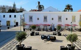 Pestana Cidadela Cascais exterior. terrace courtyard, outdoor seating area. shrubbery
