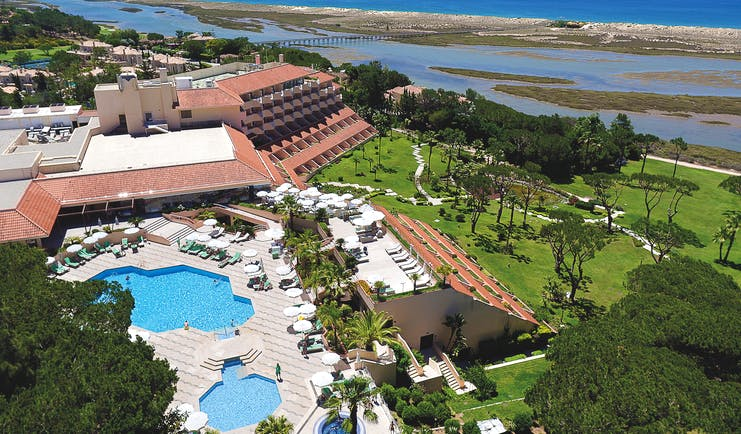 Quinta do Lago Portugal aerial exterior view of a large hotel building with outdoor pools
