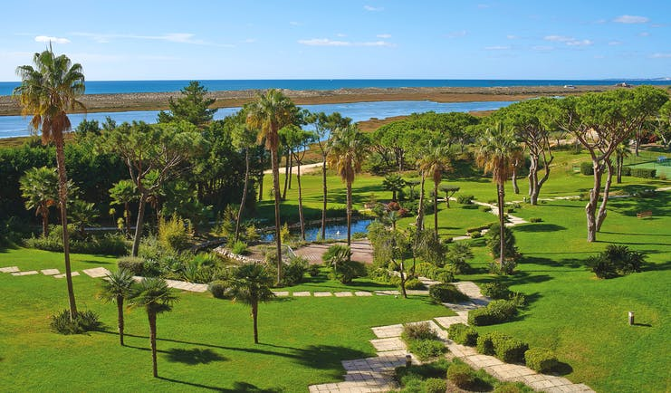 Quinta do Lago Portugal gardens aerial view of lawns and lake