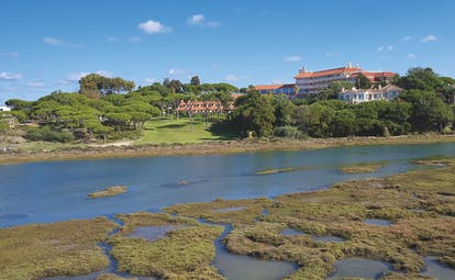 Quinta do Lago Portugal lagoon view of the hotel and grounds across a lagoon