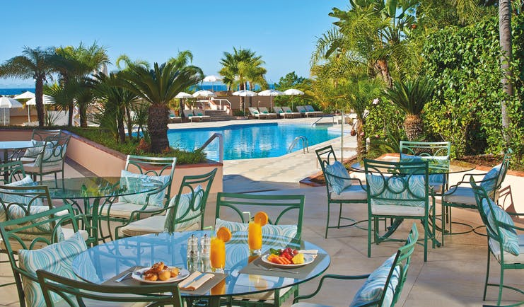 Quinta do Lago Portugal outdoor pool bar and terraced dining area