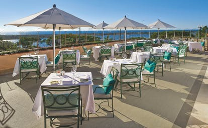 Quinta do Lago Portugal terrace balcony dining area with umbrellas