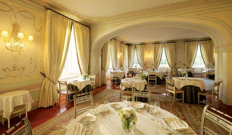 Tivoli Palacio de Seteais Portugal restaurant daytime dining area with archway and draped curtains