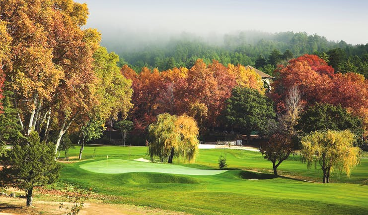 Vidago Palace Portugal golf course with autumnal trees