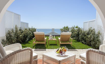 Vila Vita Parc Portugal deluxe ocean view terrace with garden and seating area