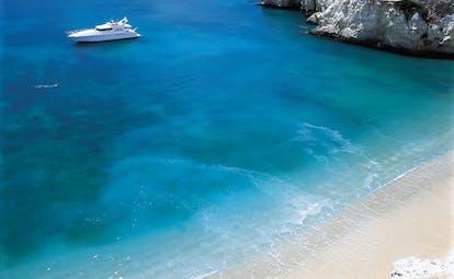 Vila Vita Parc Portugal sea yacht aerial view of a yacht in a bright blue sea