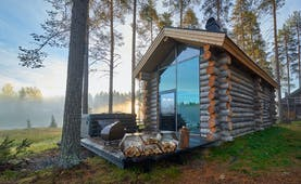 Arctic Retreat cabin exterior with private deck and woodpile, trees and wood in background