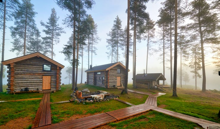 Arctic Retreat log cabins exteriors, set in the woods with wooden pathway to and from