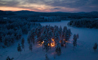 Arctic Retreat cabins in a snowy woodland at night
