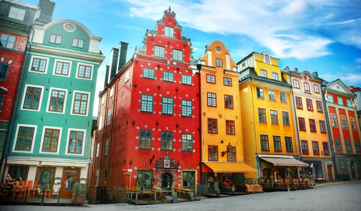 Red, green and yellow tall houses in stockholm