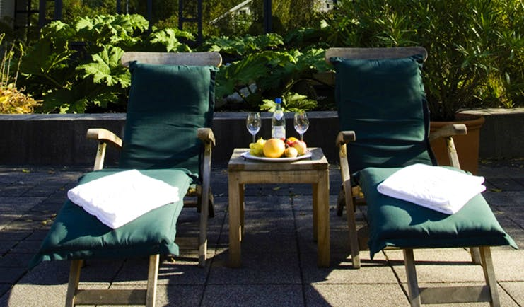 Victoria Jungfrau Switzerland spa exterior loungers fruit and water