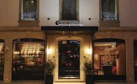 Eastwest Hotel entrance, doorway, pavement, windows