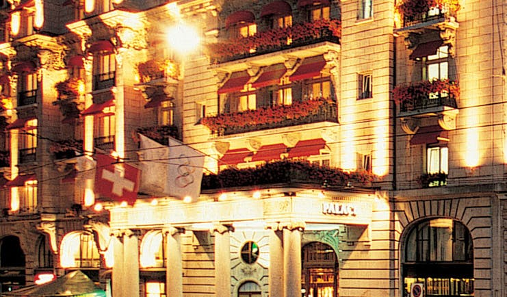 Lausanne Palace Switzerland exterior hotel at night time