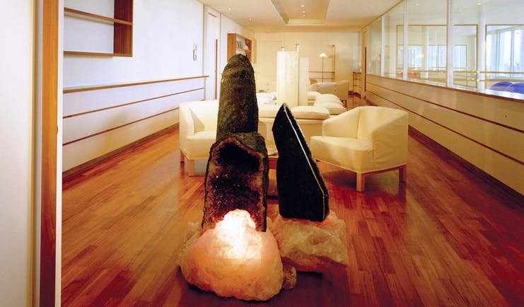 Lausanne Palace Switzerland Quartz Wellness Center lounge with large quartz stones