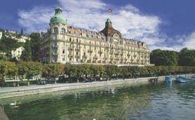 Palace Luzern exterior, hotel building in grand architectural style, lakeside position