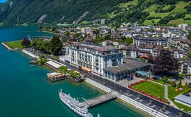 Seehotel Waldstaetterhof Brunnen aerial view of hotel on lake side with pier and gardens