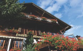 Hotel Alpenrose exterior, hotel building, alpine style architecture
