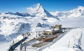 Gornergrat railway summit with Matterhorn view in winter