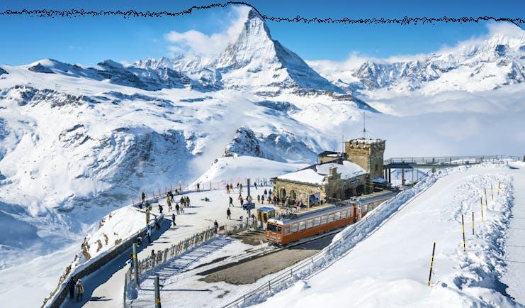 Gornergrat railway summit with Matterhorn view in winter