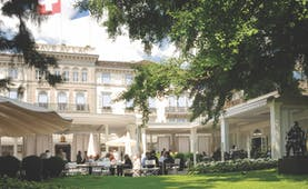 Hotel Baur au Lac Zurich exterior large white building with balconies and terrace area