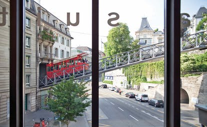 View of tram from hotel window