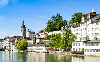 Zurich river with old buildings