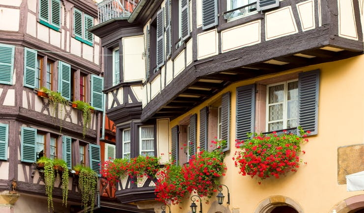 Half timbered houses with green wooden shutters in Colmar Alsace