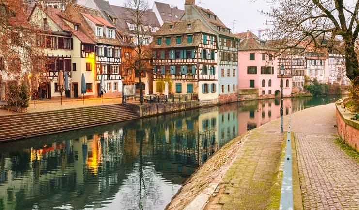 Half timbered coloured houses in Strasbourg la Petite France