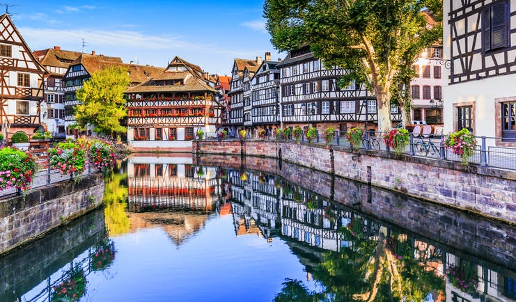 Canal with relfections of half timbered houses in Strasbourg la petite france