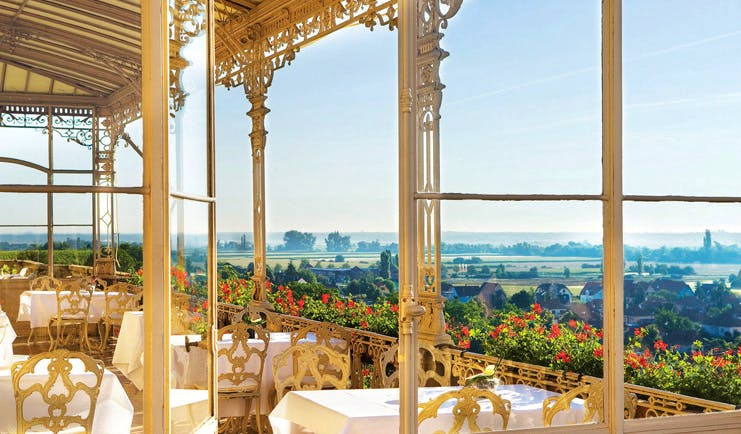 Chateau d'Isenbourg Alsace terrace dining balcony countryside view