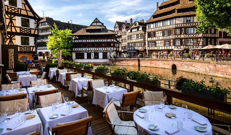 Regent Petite France outdoor dining views of half timbered houses