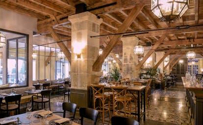 Brasserie restaurant with wooden beams at Chais Monnet Cognac