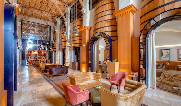 Fine dining restaurant amongst cognac barrels at Chais Monnet Cognac