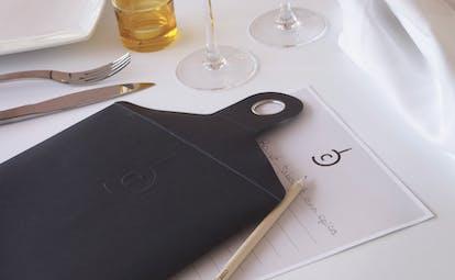 Board, menu and knife and fork for preparing a menu