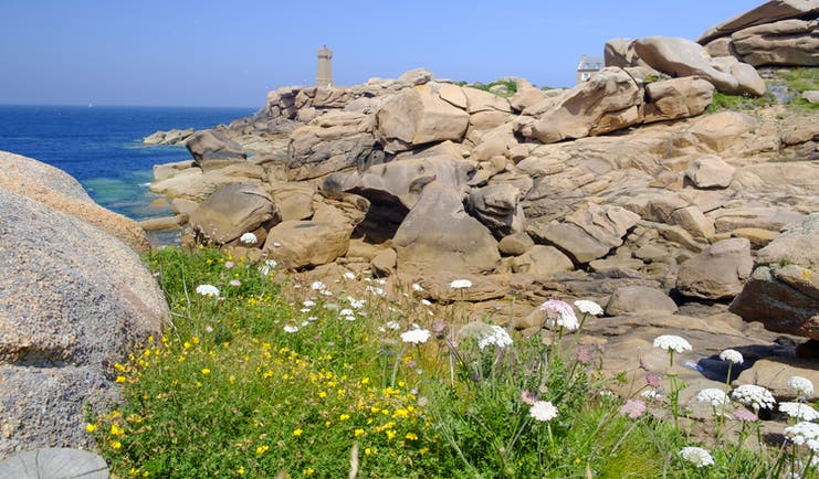 Lighthouse on cliff with rocks and flowers on Brittany coast