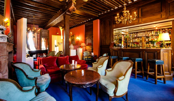 Chateau de Gilly bar with blue carpet